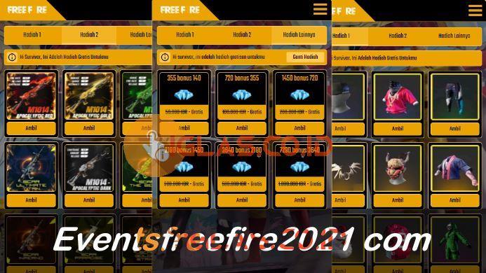 Eventsfreefire2021 com Event Claim Diamond & Skin Senjata FF Gratis !