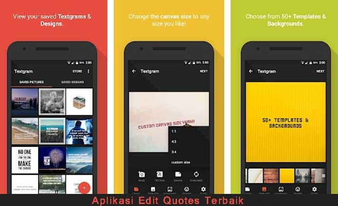 Aplikasi Edit Quotes Terbaik, Textgram